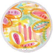 Thinking Of You- Flower Card Round Beach Towel