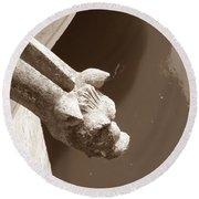 Thirsty Gargoyle - Sepia Round Beach Towel