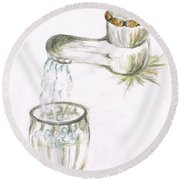 Round Beach Towel featuring the painting Thirsty Of Water by Teresa White