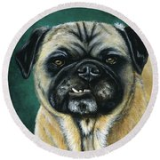 This Is My Happy Face - Pug Dog Painting Round Beach Towel