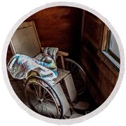 Wheelchair With A View Round Beach Towel