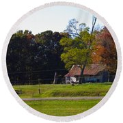 Round Beach Towel featuring the photograph This Old House by Nick Kirby