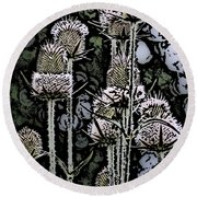 Round Beach Towel featuring the digital art Thistle  by David Lane