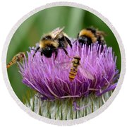 Thistle Wars Round Beach Towel
