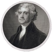 Thomas Jefferson Round Beach Towel by Gilbert Stuart