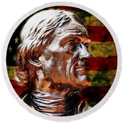 Thomas Jefferson Statue  Round Beach Towel by Judy Palkimas
