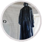 Thomas Jefferson Statue Round Beach Towel