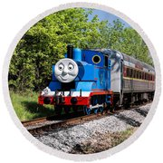 Thomas Visits The Cvnp Round Beach Towel