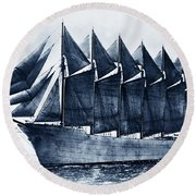 Thomas W. Lawson Seven-masted Schooner 1902 Round Beach Towel