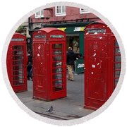 Those Red Telephone Booths Round Beach Towel