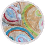 Round Beach Towel featuring the painting Thought by Sonali Gangane