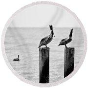 Three Amigos Round Beach Towel by Scott Pellegrin
