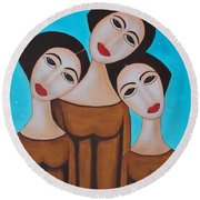 Three Angels Round Beach Towel