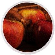 Three Apples Round Beach Towel