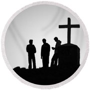 Three At The Cross Round Beach Towel