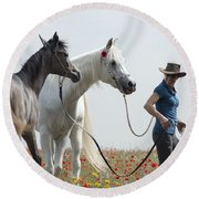 Three At The Poppies' Field... 1 Round Beach Towel