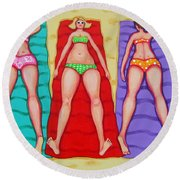 Three Bathing Beauties And Buster Round Beach Towel