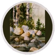 Three Birch By Rocky Stream Round Beach Towel