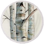 Three Birch Trees Round Beach Towel