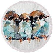 Three Birds Round Beach Towel