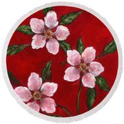 Three Blossoms On Red Round Beach Towel