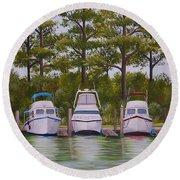 Three Boats Round Beach Towel