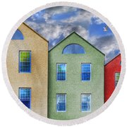 Three Buildings And A Bird Round Beach Towel