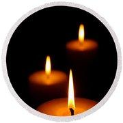 Three Burning Candles Round Beach Towel