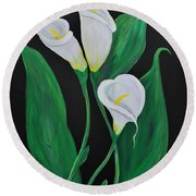 Round Beach Towel featuring the painting Three Calla Lilies On Black by Janice Rae Pariza
