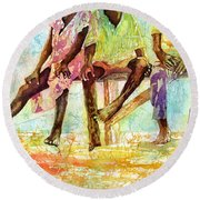 Three Children Of Ghana Round Beach Towel