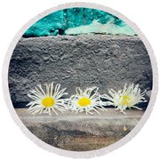 Round Beach Towel featuring the photograph Three Daisies Stuck In A Door by Silvia Ganora