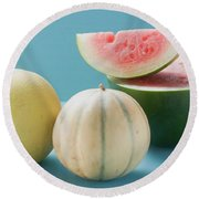 Three Different Melons Round Beach Towel