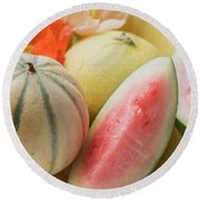 Three Different Melons In Bowl (detail) Round Beach Towel