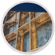 Three Dimensional Optical Illusions - Trompe L'oeil On A Brick Wall Round Beach Towel