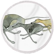 Three Dogs Illustration Round Beach Towel