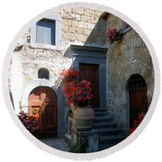 Three Doors In Bagnoregio Round Beach Towel