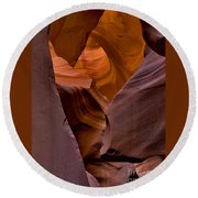Round Beach Towel featuring the photograph Three Faces In Sandstone by Mae Wertz
