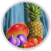 Three Fruits And A Vegetable Round Beach Towel by Anthony Mwangi