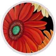 Round Beach Towel featuring the painting Three Gerbera by Barbara McMahon