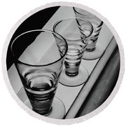 Three Glasses On A Shelf Round Beach Towel