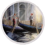 Three Gondoliers Round Beach Towel