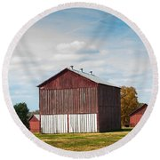 Round Beach Towel featuring the photograph Three In One Barns by Debbie Green
