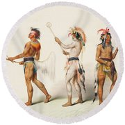 Three Indians Playing Lacrosse Round Beach Towel