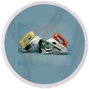 Three Irons By Casco Products Round Beach Towel