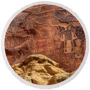 Three Kings Petroglyph - Mcconkie Ranch - Utah Round Beach Towel