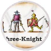 Three Knight Dog Round Beach Towel