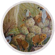 Three Little Javelinas Round Beach Towel by Marilyn Smith