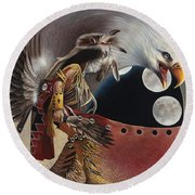 Three Moon Eagle Round Beach Towel