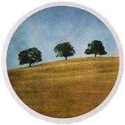 Three On A Hill Round Beach Towel