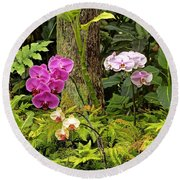 Three Orchid And A Tree Round Beach Towel